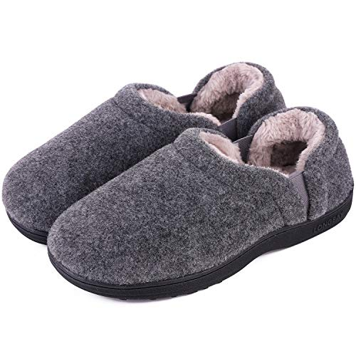 LongBay Men's Cozy Memory Foam Slippers Comfy House Shoes (X-Large / 13-14 D(M) US, Light Gray)