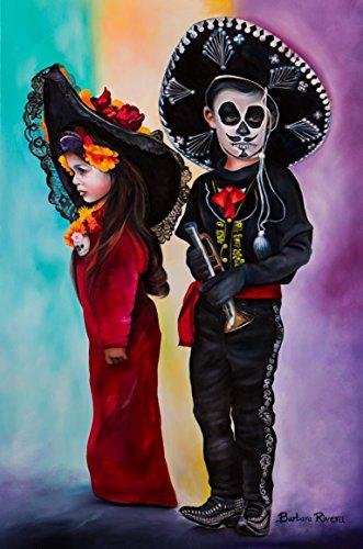 ''La Catrina & Little Charo'' 11x17'' Original Barbara Rivera Art Print by Barbara Rivera Art
