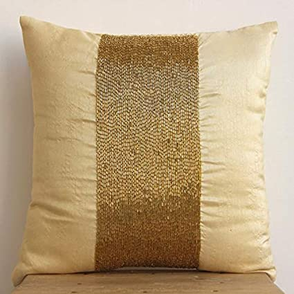 Yellow Gold Throw Pillows.Handmade Gold Throw Pillows Cover For Couch Metallic Beaded Sparkly Glitter Pillow Covers 18 X18 Throw Pillow Covers Square Silk Pillow Covers