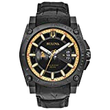 Bulova Men's 'Grammy' Quartz Stainless Steel and Leather Casual Watch, Color Black (Model: 98B293)