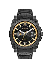 Bulova Men's 'Grammy' Quartz Stainless Steel and Leather Casual Watch, Color: Black (Model: 98B293)