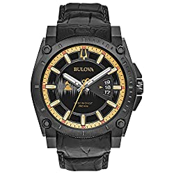 Bulova Men's 'Grammy' Quartz Stainless Steel and Leather Casual Watch, Color:Black (Model: 98B293)