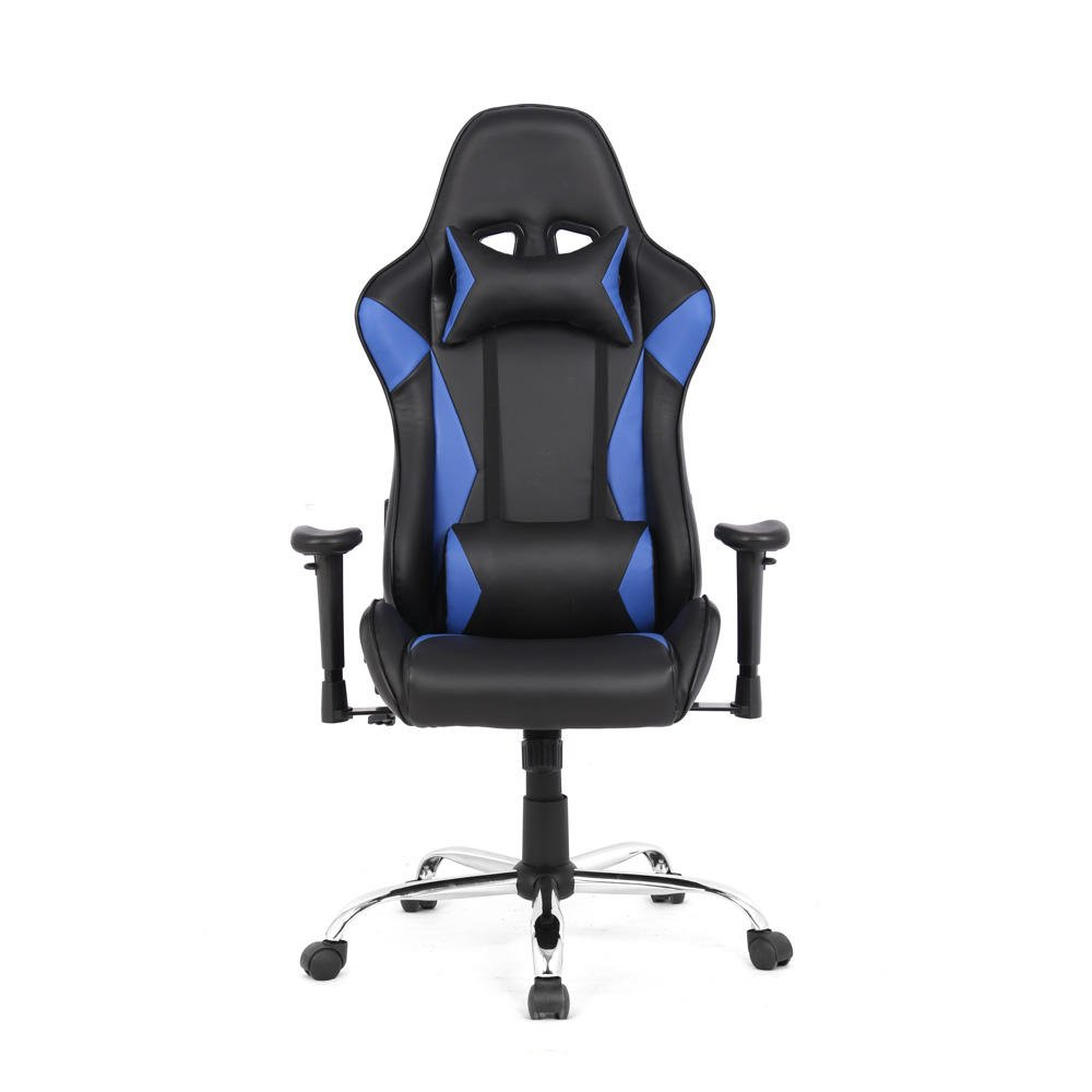 Moustache ® Large Size High-back Ergonomic Gaming Chair Top Gamer Racing Seat with Massager Lumbar Support (Blue & Black) MOFC-HLC-2322L