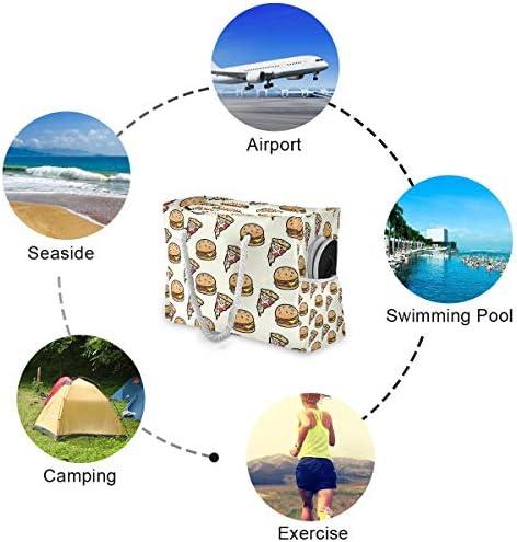 ビーチバッグ ビーチトートバッグ ハンバーガー ピザ プールバッグ ショッピング 軽量 旅行 アウトドア 大容量 トイレタリー 手提げバッグ ピクニック 水泳バッグ 海水浴 温泉 ポケット付き リゾート
