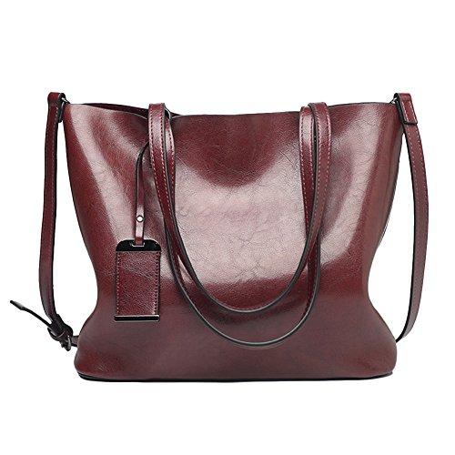 Womens Leather Tote Handbags Top Handle Satchel Vintage Hobo Shoulder Bag Purses (Coffee Zipper)
