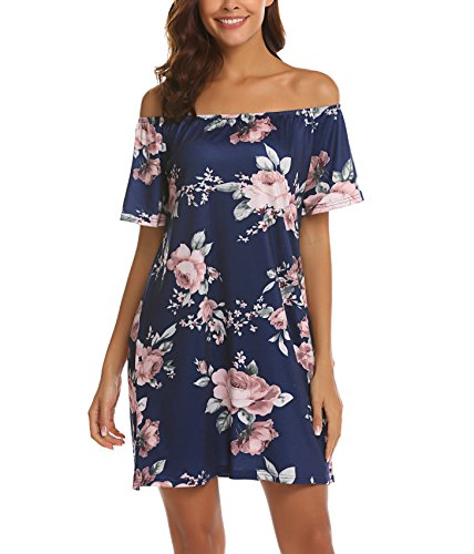 OURS Women's Summer Off Shoulder Casual Floral Mini Dress with Belt