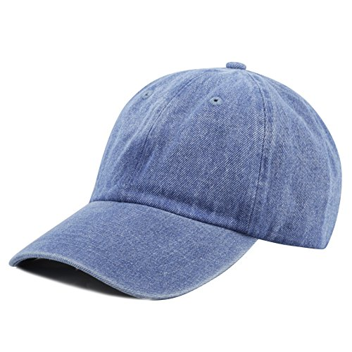 THE HAT DEPOT 300N Washed Cotton Low Profile Denim Baseball Cap (Denim Blue), One Size