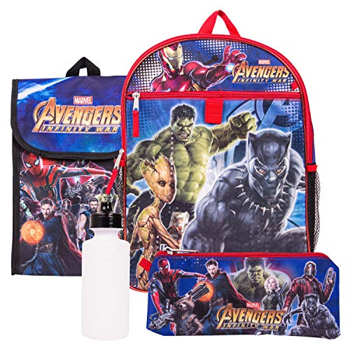 Marvel Avengers Backpack Combo Set - Marvel Avengers 5 Piece Backpack School Set (Black/Blue)