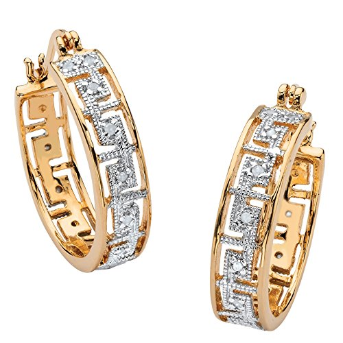 White Diamond Accent Greek Key 18k Yellow Gold-Plated Hoop Two-Tone Earrings (25mm) ()