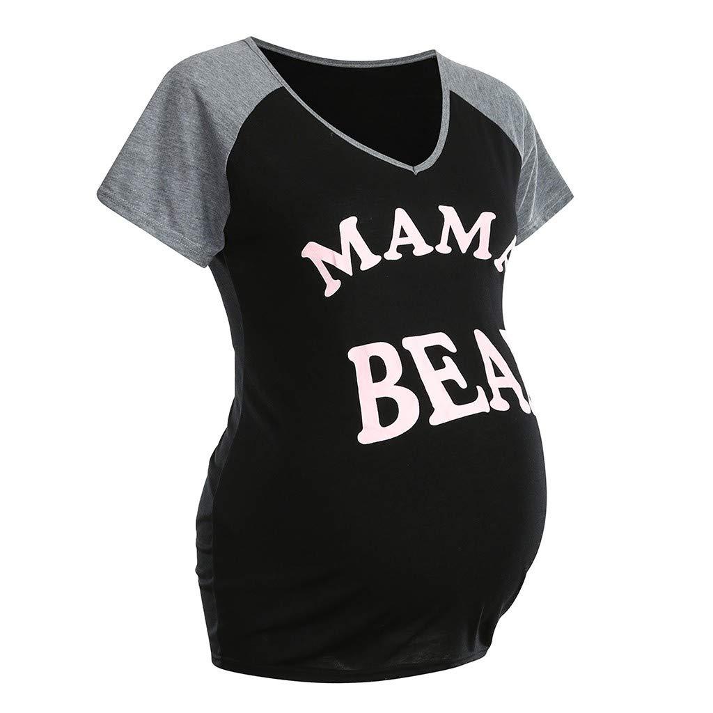 /à Manche Courte V/êtement de maternit/é Mignon Et Rigolo Haut de maternit/é avec Motif pour la Grossesse T-Shirt de Grossesse Humour Femme Modaworld Empreintes de B/éb/é avec C/œur