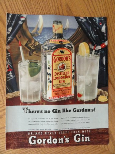 Gordon's London Dry Gin, Vintage 40's full page print ad. Color Illustration (boat scene/There's no gin like Gordon's!)Original vintage 1950 Collier's Magazine Print Art. (Dry Vintage Gin)