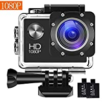 Action Camera, 12MP 1080P 2 inch LCD Screen, Waterproof Sports Cam 120 Degree Wide Angle Lens, 30m Sport Camera DV Camcorder with with 2 Rechargeable Batteries and Mounting Accessories Kit 824A002