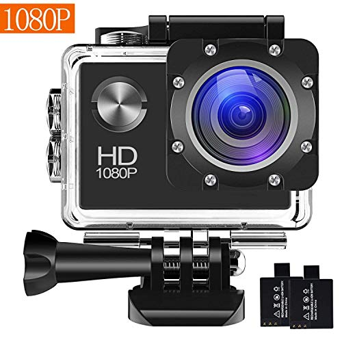 Action Camera, 12MP 1080P 2 Inch LCD Screen, Waterproof Sports Cam 120 Degree Wide Angle Lens, 30m Sport Camera DV Camcorder with with 2 Rechargeable Batteries and Mounting Accessories Kit N1080P-005 (Mounting Degree Kit 140)