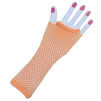 80's Diva Fishnet Adult Costume Gloves, Assorted Colors (Orange)