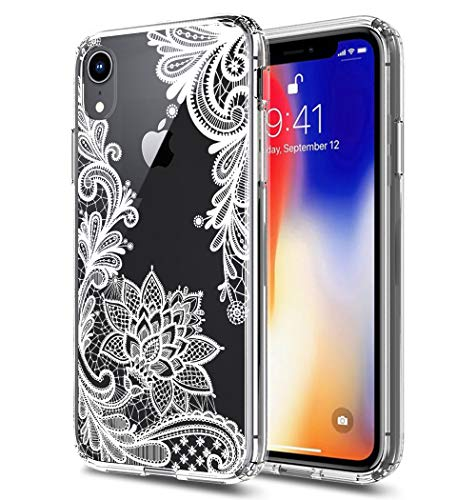 iPhone XR Case, XR Case, iPhone 10(Ten)R Case Huness TPU Grip Bumper and Clear Flower Transparent Hard PC Backplate Hybrid Slim Phone Case Cover for Apple iPhone XR 2018 Phone (6.1) (Clear Flower)