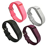 EPYSN 4PCS Compatible Fitbit Flex Band,Silicone Replacement Wristband for Fitbit Flex Bracelet Sport Bands with Metal Watch Band Buckle Large/Small Black-Pink-Grey-Purple