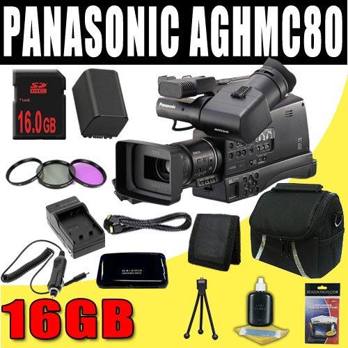 Panasonic AG-HMC80 3MOS AVCCAM HD Shoulder-Mount Camcorder + VBG260 Battery/Charger + Filter Kit + 16GB SDHC + HDMI DavisMAX Pro Kit Bundle
