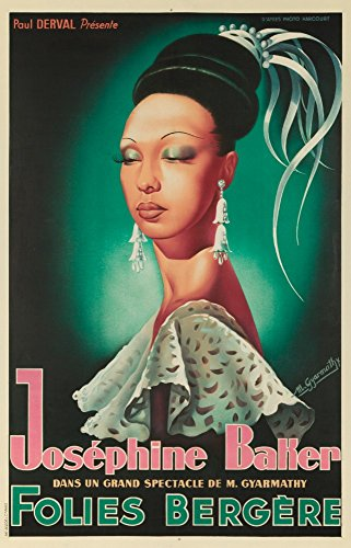 Josephine Baker Folies Bergere (artist: Gyarmathy) France c. 1949 - Vintage Advertisement (16x24 SIGNED Print Master Giclee Print w/ Certificate of Authenticity - Wall Decor Travel ()