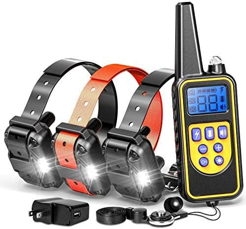Dog Training Collar, Rechargeable Waterproof Dog Collar 2600ft Remote Range Dog Trainer Collar with Beep Vibrating for Large Medium small Dogs, Electronic Dog Training collar E-Collar for 3 dogs