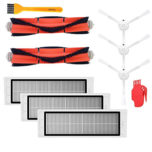 aoteng Accessories for Xiaomi mijia/roborock Robot Vacuum Cleaner Pack of 3 Hepa Filters,2 Main Brushes,1 Cleaning Tool,3 Side Brushes