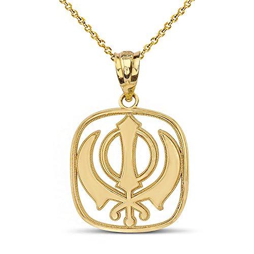 14k Gold Sikh Khanda Punjabi Kirpan Sword Symbol Religious Pendant Necklace, 18