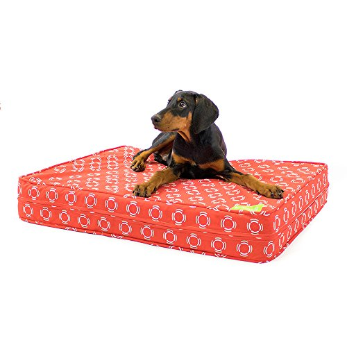 51yFWu2M6FL - eLuxurySupply Dog Bed - Modern Red | Orthopedic Gel Memory Foam - Made in the USA | Durable 100% Cotton Canvas Cover | Waterproof Encasement | Machine Washable | Small, Medium & Large Dogs