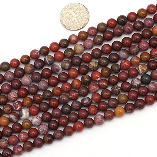 SHG Store 6mm Round Smooth Red Flower Agate For Jewelry Maki