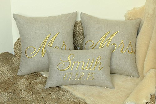 DecorHouzz Mr and Mrs Personalized Set of 3 pcs Pillow Cover Embroidered Wedding Couple Anniversary Customized Pillow Cases Throw Pillow Slip Covers Decorative Pillow