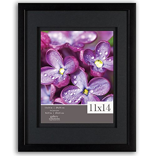 Gallery Solutions 11x14 Black Wood Wall Frame With Double