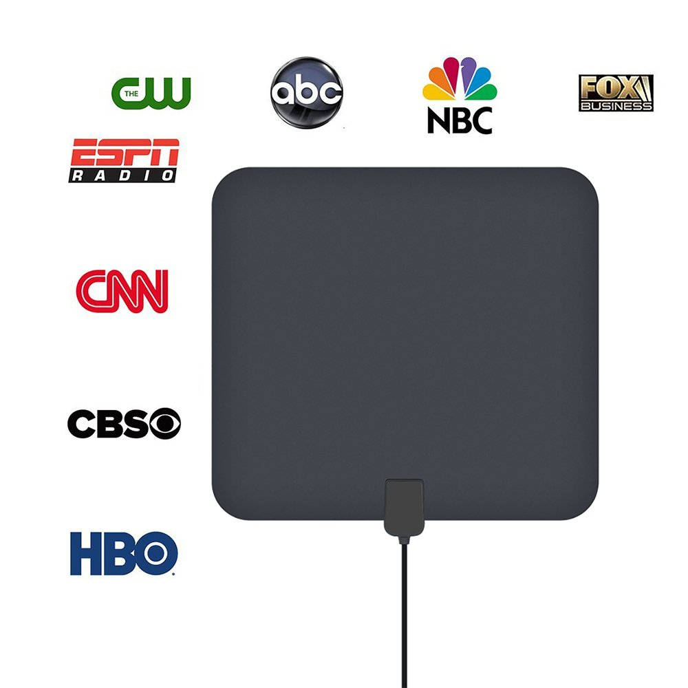 WomToy HD TV Antenna, 1080P Indoor Amplified HD Digital TV Antenna 55-80 Miles Range  with Detachable Amplifier Signal Booster and 10 Feet Coaxial Cable(Black)