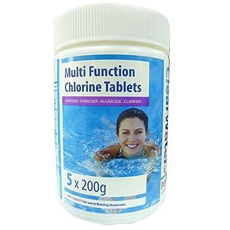 Clearwater función Multi 5 x 200 G tabletas de cloro piscina ...