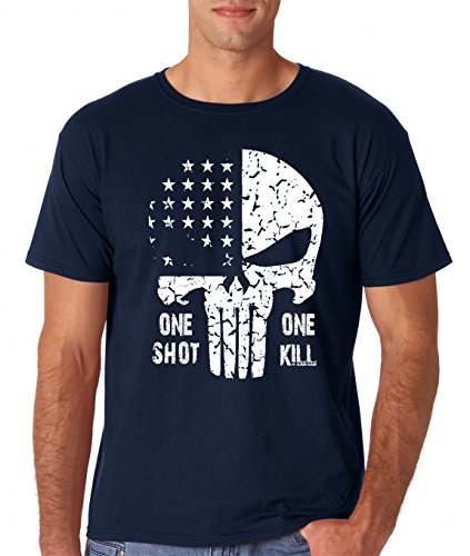 AW Fashions One Shot One Kill - American Punisher Sniper Premium Men's T-Shirt (Medium, Navy)