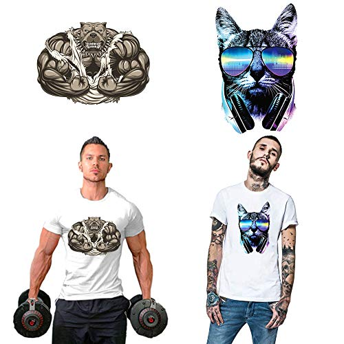Cat Dog Large Patches Iron on Transfers Stickers for Woman Men DIY Applique Decorative Patches for Clothing Jackets Clothes Coats Vest Shirt Tshirt (2 Pcs)