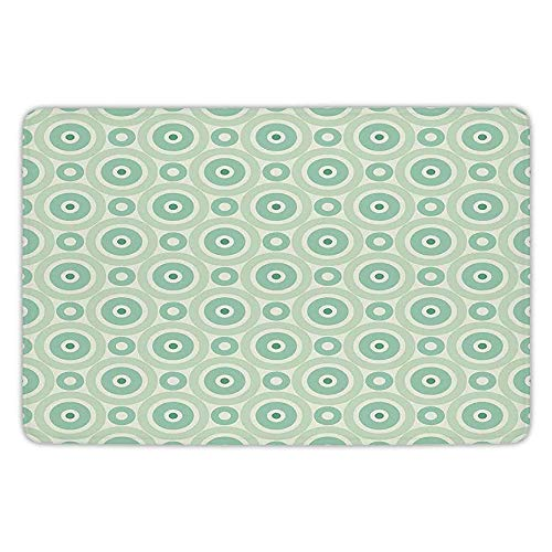 K0k2t0 Bathroom Bath Rug Kitchen Floor Mat Carpet,Mint,Retro Disc Shaped Inner Circles Nostalgic Featured Geometric Graphic,Seafoam Almond Green,Flannel Microfiber Non-Slip Soft ()