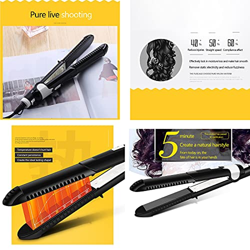 HXS Hair Straightener Ceramic Tourmaline Ionic Flat Iron Hair Straighteners Straightens & Curls with Adjustable Temp for All Hairstyles Instant Heating Dual Voltage Best Gift for Women (Black)