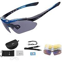 ROCKBROS Gepolariseerde Sportbril UV400 Bescherming met 5 Verwisselbare Lenzen Fietsbril Dames Heren voor Buitensporten…
