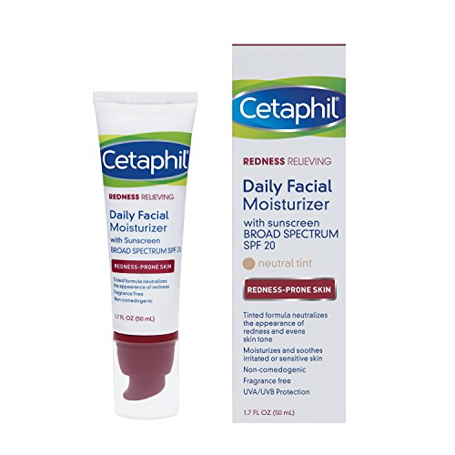 Paraben Tinted Moisturizer Free (Cetaphil Redness Relieving Daily Facial Moisturizer SPF 20, 1.7 Ounce)