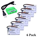 HEIOKEY Upgrade 6Pcs 3.7V 720mAh 20C Rechargeable Lipo Battery with 6 in 1 Battery Charger for Syma X5 X5C X5SC X5SC-1 X5SW X5C-1 & Cheerson CX-30W RC Quadcopters Drone