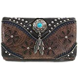 Justin West Turquoise Stone Concho Feathers Western Tooled Studs Concealed Carry Handbag Purse (Brown Wallet Only)