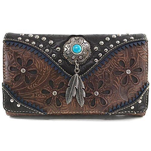 Justin West Turquoise Stone Concho Feathers Western Tooled Studs Concealed Carry Handbag Purse (Brown Wallet Only) ()