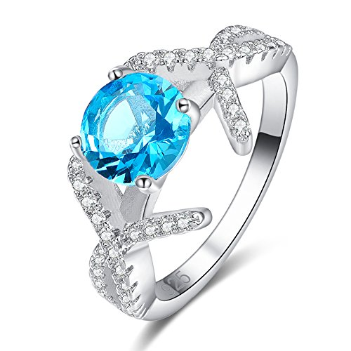 - Emsione Created Blue Topaz 925 Sterling Silver Plated Halo Ring for Women