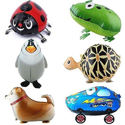 Signstek 6pcs Walking Animal Balloons Birthday Party Decor Children Kids Gift - Including Turtle, Frog, Huntaway, Beatles, Penguin, (Beatles Gifts For Kids)