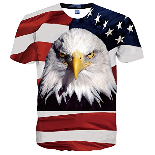 (Hgvoetty Unisex Red Eagle Shirts Novelty 3D Printed Graphic Tees for Men Women Small)