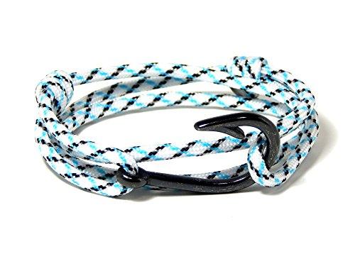 Men's Women's Nautical Fish Hook Bracelet Cool Mint Paracord Gunmetal Black Tone Fish Hook - Gunmetal Blue