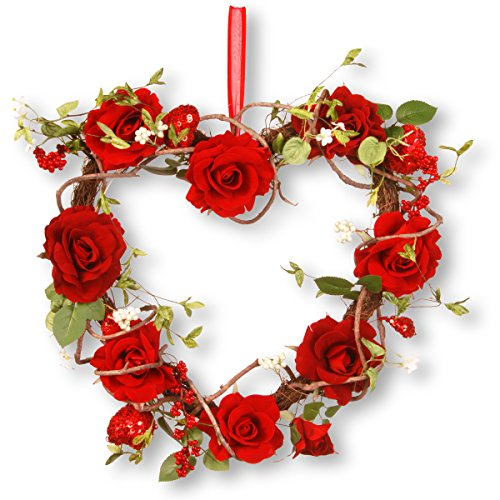 National Tree 20 Inch Wooden Heart Wreath with Red Roses and Sequin Hearts (RAV-A030029B) Heart Shaped Berry Wreath