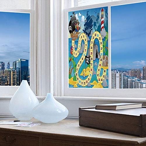 TecBillion Control Heat and Anti UV Window Cling,Board Game,Reduce Heat, Glare and Block Out Harmful UV Rays,Ghost Ship with Pirates Lighthouse Tropical Island Waters,24''x48''