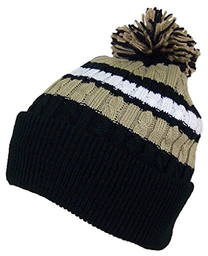 Best Winter Hats Quality Cable Knit Cuffed Winter Hat W/Large Pom Pom (One Size)(Fits Large Heads) - - Mens Quality