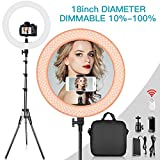 Travor 18' Ring Light with 198CM Light Stand Kit, Dimmable 60W 3200K/5500K LED Ring Light with Hot Shoe Adapter, Phone Holder, Remote Control for YouTube Makeup Phone Camera Video Shooting