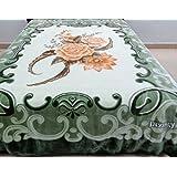 Vivalon Green Roses (BM127) Thick Mink Korean Style Plush King Size Blanket - By Solaron