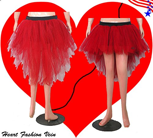Red Bustle Peacock Seven Layer Trashy Tutu Skirt Halloween Queen of Heart Ladybug (Trashy Fancy Dress)